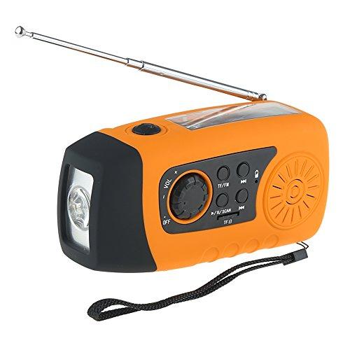 IntiPal FM Solar Radio Solarradio mit Kurbel Kurbeldynamo LED Taschenlampe Notfall Ernstfall USB Handy Ladeger?t Camping Outdoor (Gelb)