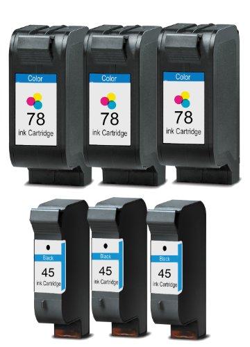 Merotoner® - 6 x Druckerpatrone für HP 45 78 HP Deskjet 930C 950C 959C 960C 970CXI 980CXI 990CXI 995C 1180C 1220C 1220C PS 1220CSE 1280 6120 6122 6127 9300