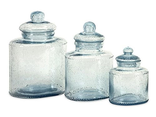 Set Of 3 Celina Pale Blue Bubbled Glass Lidded Kitchen Canisters