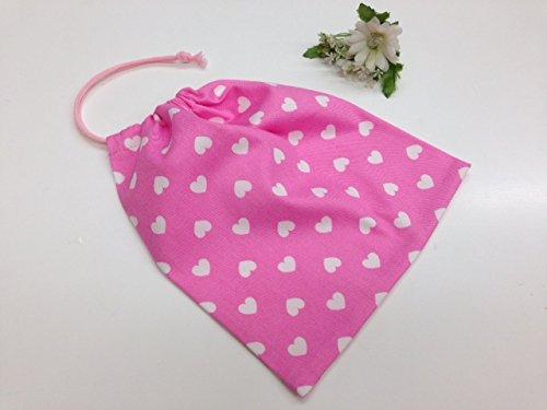 手作り 給食袋 女の子 巾着袋 ピンク×ハート柄 温か味あるハンドメイド品で入園入学通園通学に♪ 入園 入学 通園 通学