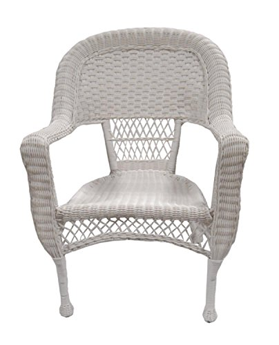 Set of 2 White Resin Wicker Patio Dining Arm Chairs (White Wicker Resin Chair compare prices)