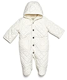 Leveret Quilted Baby Snowsuit (3 Months, White)