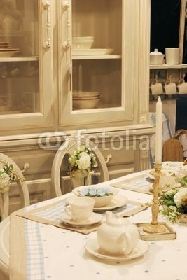 Wallmonkeys Peel and Stick Wall Decals - Dining Room Table with Elegant Setting - 36