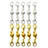 Bluecell Pack of 10 Pcs Gold Color and Silver Color Round Tone Magnetic Lobster Clasps for Jewelry Necklace Bracelet