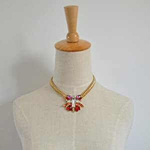 Red Piled Stone Statement Necklace - Great Quality