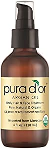 PURA D'OR Moroccan Argan Oil 100% Pure & USDA Organic For Face, Hair, Skin & Nails, 4 Fluid…