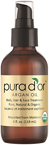 PURA D'OR Moroccan Argan Oil 100% Pure & USDA Organic For Face, Hair