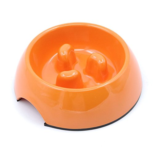SuperDesign Three Columns Style Melamine Non-skid Slow Feed Bowl, For Dog and Cat, Small, Orange (Cat Slow Feeding compare prices)