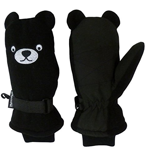 N'Ice Caps Little Kids Cute Puppy Face Thinsulate and Waterproof Mittens (2-3yrs, Black/White)