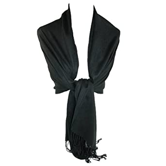 Women's Pashmina Shawl Wraps (Black)
