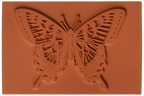 Deep Red Stamps Swallowtail Butterfly Rubber Stamp