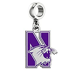 Northwestern Wildcats Silver Logo and School Color Dangle Charm Fits All Pandora Style Charm Bracelets