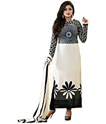 Om Fashion Women's Cotton Unstiched Salwar Suit with Dupatta ( om00022whitespi_Multi)