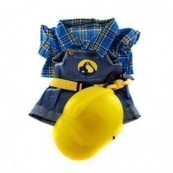 "Construction Worker with Hard Hat Outfit Teddy Bear Clothes Fit 14"" - 18"" Build-a-bear, Vermont Teddy Bears, and Make Your Own Stuffed Animals"
