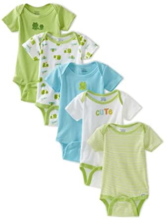 Gerber Unisex-Baby 5 Pack Variety Print Onesies Brand, Green And Yellow, New Born
