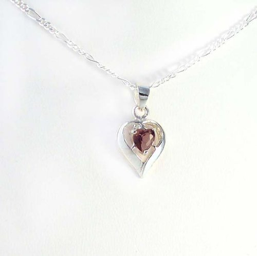 Birthstone February Purple Heart Crystal Sterling Silver Necklace, 20