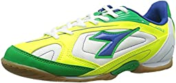 Diadora Quinto III Indoor Soccer Shoe, White/Green, 9 M US