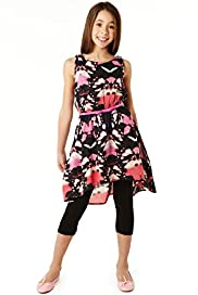 Autograph Cotton Rich Butterfly Print Dip Hem Dress & Leggings Outfit