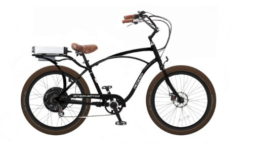 Pedego Interceptor Classic Cruiser Black Tire/Seat Package: Brown Balloon