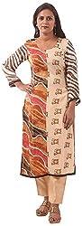 New Pinch Trends Women's Crepe Long Sleeve Kurti (NPTAV-SkinTigerMulti1007_L, Beige, Large)