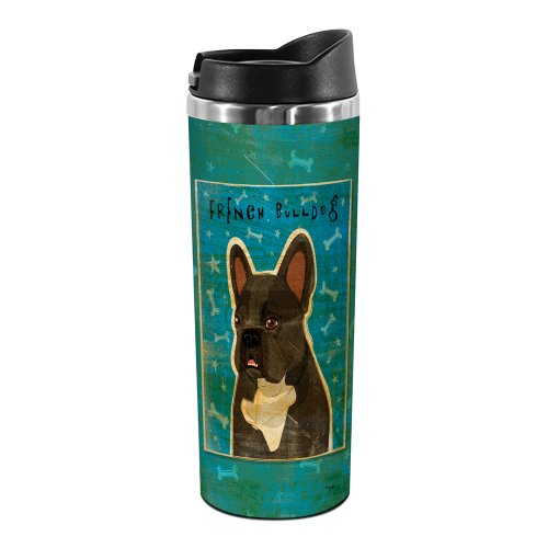 Tree-Free Greetings Tt02063 John W. Golden 18-8 Double Wall Stainless Steel Artful Tumbler, 14-Ounce, Black Brindle And White French Bulldog