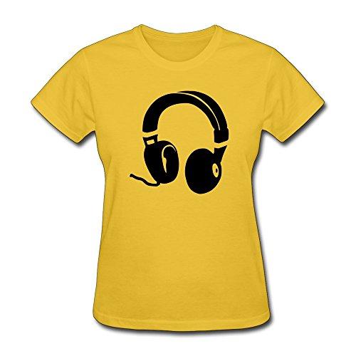 Ptcy Women'S Tshirt Headphones Us Size S Gold front-470014