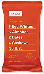 RXBAR Whole Food Protein Bar, Pumpkin Spice, 1.83 Ounce (Pack of 12)