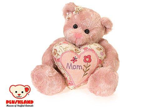 Plush 8 Inch Pink Mom Heart Teddy Bear