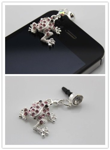 Nine States Crystal Bling Rhinestone Cute Frog 3.5Mm Headphone Jack Anti Dust Plug Ear Cap For Iphone 5,4,4S,Ipad ,Ipod Touch ,Samsung Galaxy S3 S4 Note 2 Note2,Htc,Blackberry And Other Cellphone Pink