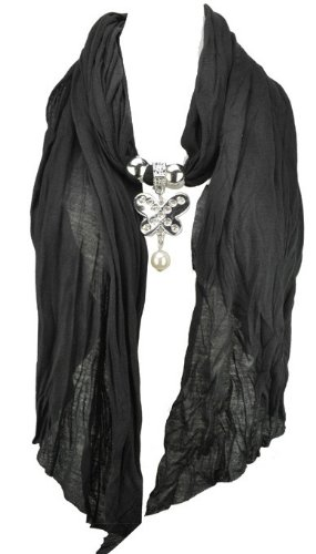 Women's Long Black Jewellery Necklace Scarf With
