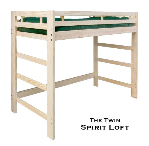 Twin Spirit Loft Bed - Natural Unfinished - Solid Wood - Holds 1000 Lbs.