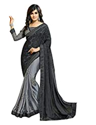 Jay Deep Polysatin Saree In Grey Black Colour For Party Wear