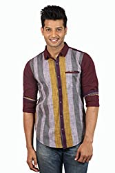 Le Tailor Men's Slim Fit Casual Stripes Shirt ( SLCFS108,Maroon & Yellow,M )