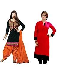 Sky Global Women's Regular Wear Dress Material And Kurti (Combo Pack Of 2)(SKY_DK_9037)(SKY_547_Black)(SKY_7017...