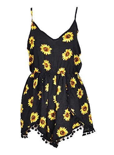 Women Summer V Neck Straps Sunflower Print Romper Jumpsuit
