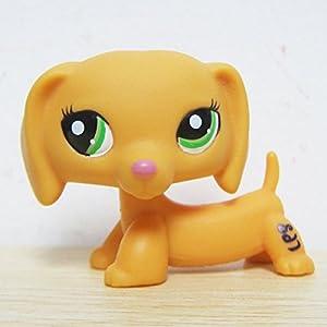 Littlest-Pet-Shop-LPS-2597-Orange-Dachshund-Puppy-Dog-Green-Eyes-Pink-Nose