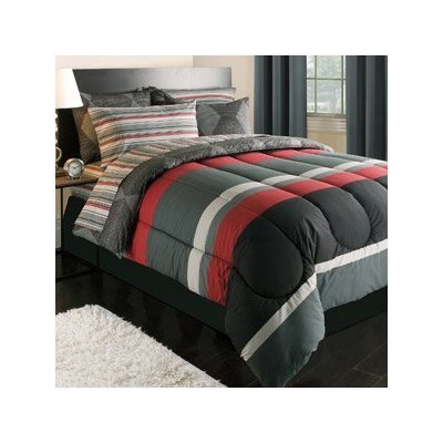 Rugby Stripe Black Gray Red Stripes Twin Xl Dorm Comforter Set (5 Piece Bed In A Bag)