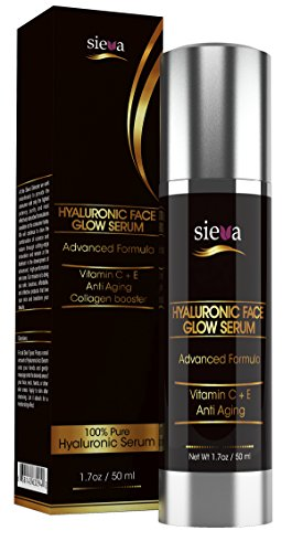 Hyaluronic Face Glow Serum - Highest % Of Ha On Market - Best Hyaluronic Serum For Skin With Vitamin C + A + D + E. Collagen Booster. For Men And Women. Anti Aging And Anti Wrinkle Instant Face Lift Solution. Formulated To Smooth, Tone, Plump, Rejuvenate,