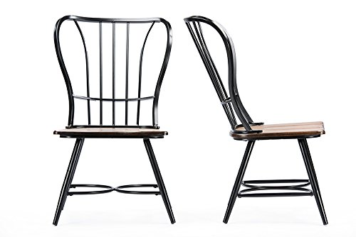"Baxton Studio Longford ""Dark-Walnut"" Wood and Black Metal Vintage Industrial Dining Chair (Set of 2)"