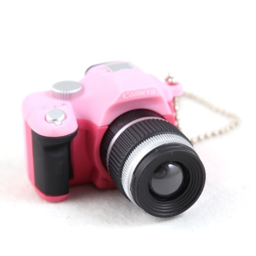 Novelty Mini SLR Camera Gadgets Toy Keychain Charm Keyring Ornament-Pink