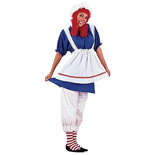 GSG Rag Doll Costume Adult Raggedy Ann Halloween Fancy Dress (Gothic Rag Doll Costume Plus Size)