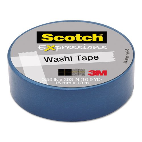 "Scotch Expressions Washi Tape, .59"" X 393"", Blue"