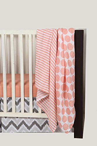 Bacati Ikat Coral/grey Dots/stripes 4 Crib Set with 2 Muslin Blankets