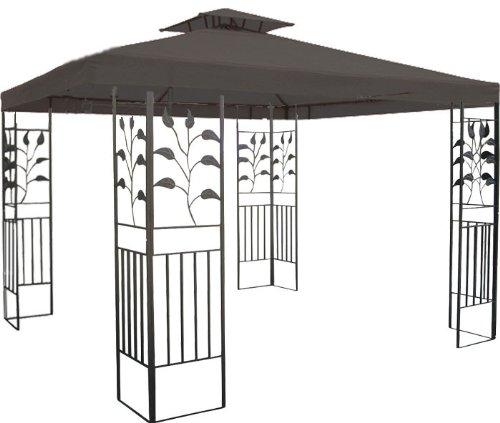WASSERDICHTER Pavillon 3x3m anthrazit TOSKANA Metall inkl. Dach Festzelt wasserfest Partyzelt (anthrazit)