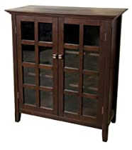 Simpli Home AXREG007 Acadian Collection Medium Storage Cabinet, Rich Tobacco Brown, 1-Pack