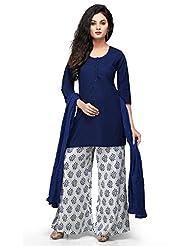 Vastra Vinod Dark Blue Cotton Readymade Kurti With Palazzo Pants