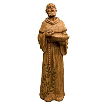 New Creative 841744 Seeds of Faith Statue with Bird Feeder, St. Francis, 8-Inches x 10-Inches x 29-Inches Tall