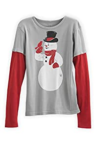 Green 3 Apparel Layered Look Snowman Birdie USA made Organic Tee