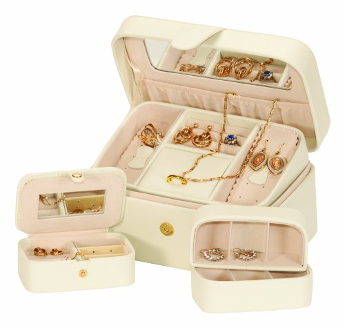 Mele & Co Mele & Co Leather Jewellery Box Cream