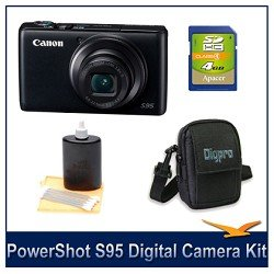 Canon PowerShot S95 10 MP Digital Camera with 3.8x Wide Angle Optical Image Stabilized Zoom and 3.0-Inch inch LCD Deluxe Bundle With DigPro Deluxe Carrying Case, 3pc. Lens Cleaning Kit, & 4 GB Memory Card